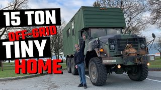 TINY HOME TOUR || Self Converted Off-Grid All Terrain TINY HOUSE || Former Military Troop Carrier