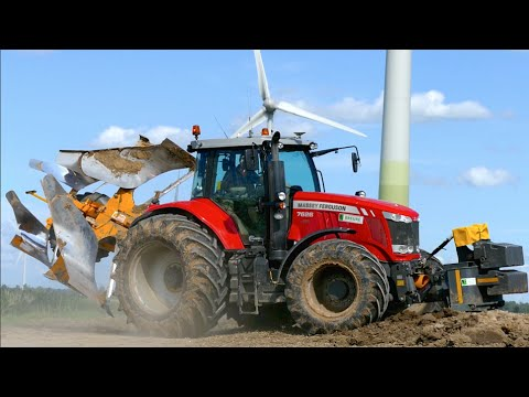 Deep ploughing   Massey Ferguson 7626 & New Holland T7.220 BP   Breure diepploegen / Plowing