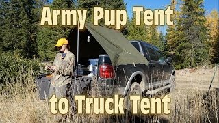 Army Pup Tent turned Truck Tent