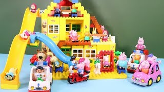 Peppa Pig Blocks Mega House Construction Sets - Lego Duplo House With Water Slide Toys For Kids #3