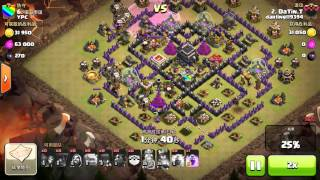 Darling119494^ clash of clans^ att by DT with new combi of troops. Mixture of golem n Air Force!