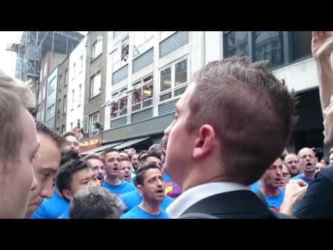 London Gay Men's choir sings Bridge Over Troubled Water at the London vigil for Orlando