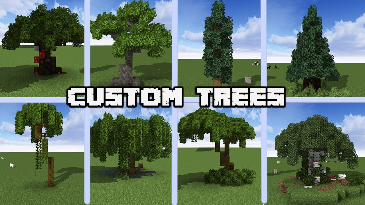 100 Custom Tree designs for MINECRAFT 10.104 Vanilla [WORLD DOWNLOAD]