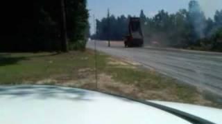 overloaded dump truck