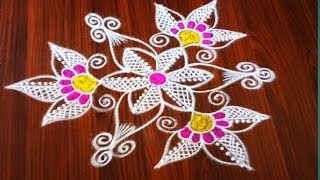 Simple and easy  5 dots rangoli designs made easy to draw for everyone