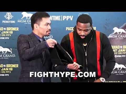 PACQUIAO LAUGHS IN ADRIEN BRONER'S FACE AGAIN; SHOWS HIM HIS TITLE AT SECOND FACE OFF