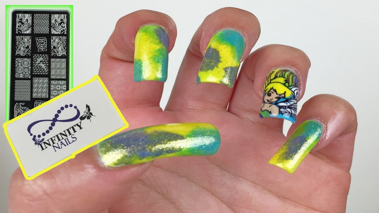 Infinity Nails 65. Tinker Bell Nail Stamping Tutorial - YouTube