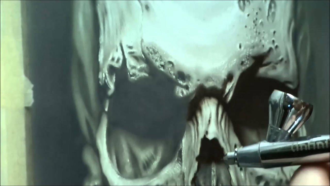 Airbrush Realistic Skull By Jaroslaw Bytow