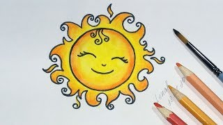How to Draw a Cute Sun Step by Step  - Summer Drawing