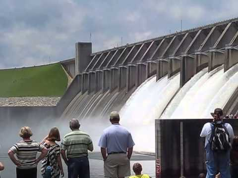 Flood Gates Opening at Clark Hill Dam
