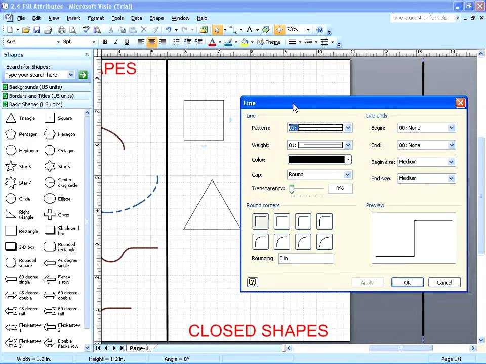 Drawing Lines In Visio : Visio changing line fill attributes youtube