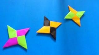 Cara Membuat Origami Shuriken Ninja 4 Bintang | Origami Shuriken Ninja