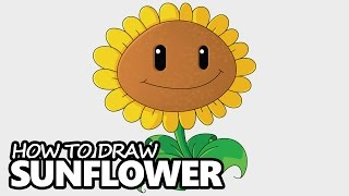 How to Draw Sunflower from Plants vs Zombies - Easy Step by Step Video Lesson