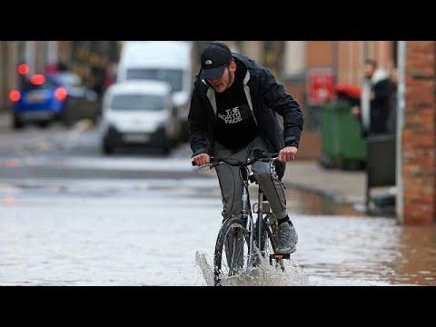 Aerial shots of UK flooding after Storm Dennis [No Comment]