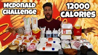 MCDONALD 12000 Calorie Challenge - Italiano Cheat Day - MAN VS FOOD (ENG SUB)