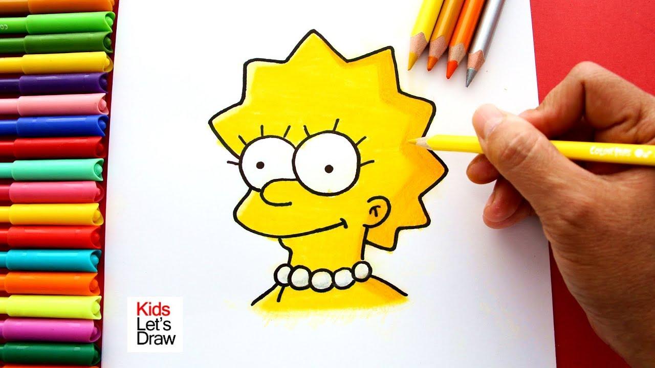 Como Dibujar A Lisa Simpson De Manera Facil Solo Rostro Youtube