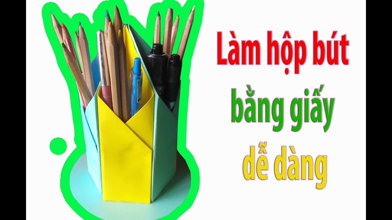 Làm Hộp Đựng Bút Bằng Giấy // How To Make A Paper Pen Box // Thảo Trần