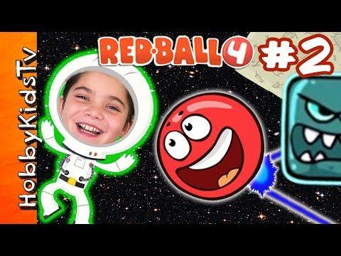 Red Ball 4! Space Moon Level + Skit, Part 2 – iPad App Video Game Play HobbyKidsTV