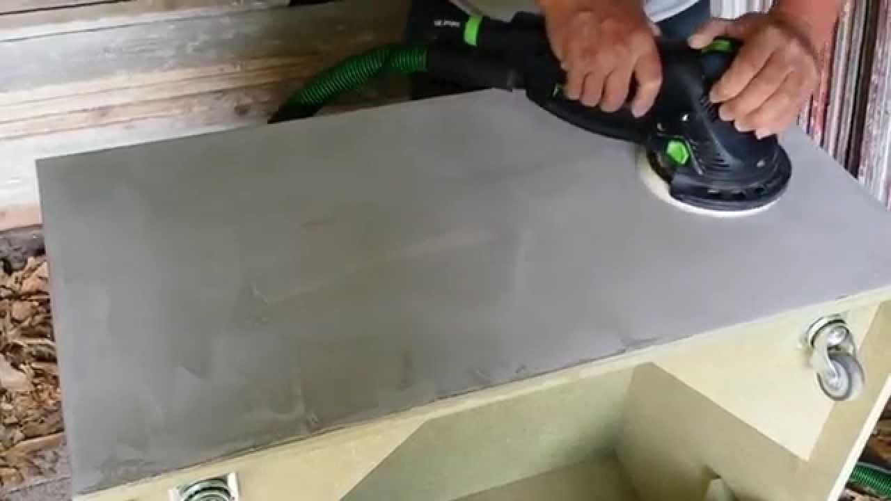 Salontafel Van Beton : Polijsten van betonlook salontafel youtube