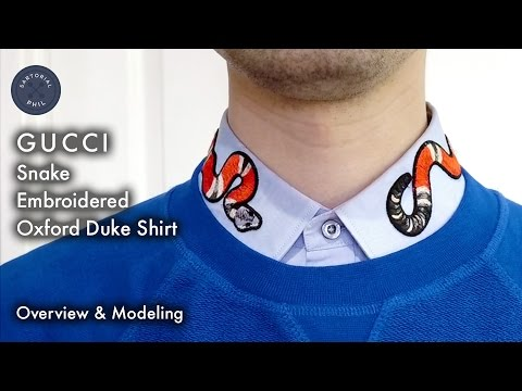 ed7212b33 Gucci Snake-Embroidered Oxford Duke Shirt Overview & Modeling - YouTube