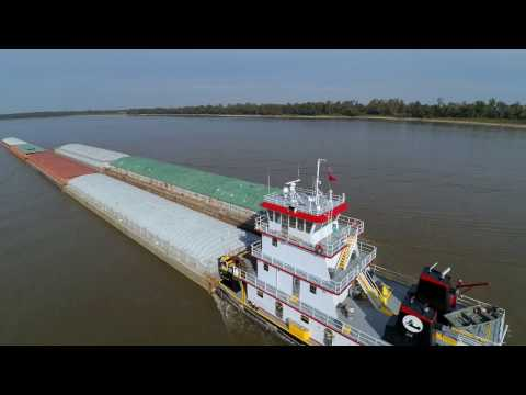 Mississippi Barges (4K Drone Video)