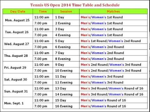 Tennis US Open 2014 Time Table And Schedule
