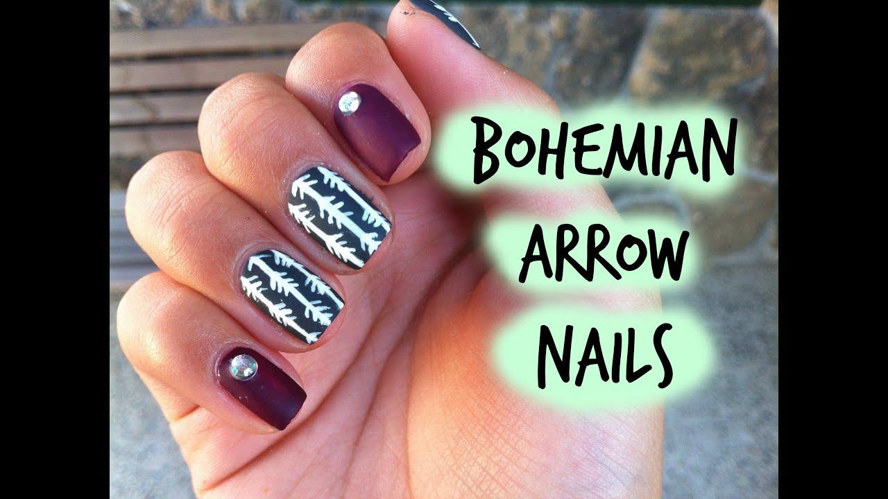 Bohemian arrow nails - YouTube