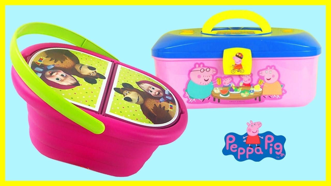 Masha Picnic Mand Met Playdoh Klei Surprise Eggs En Peppa Pig