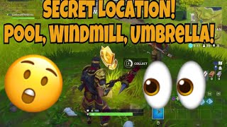 Fortnite: Search Between a Pool, Windmill, and Umbrella Location! | Fortnite Battle Royale *SECRET*