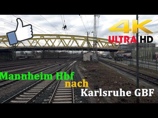 【4K】 Führerstandsmitfahrt Mannheim Hbf nach Karlsruhe GBF  Über Schwetzingen ,Graben-Neudorf
