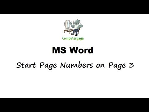 Start Page Numbers from Page 3 - Microsoft Word