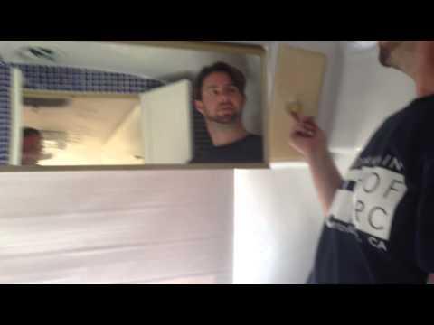 Bathroom lighting, door locks, toilet, tub/shower
