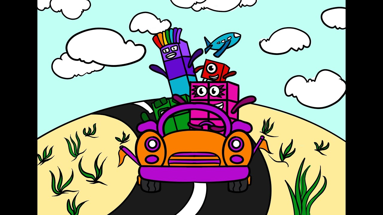 Numberblocks 1478 Happy Holidays  Together by Car    Numberblocks Season 5   Numberblocks coloring