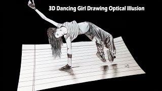 3D Dancing Girl Drawing Optical Illusion - Kaif Sketch
