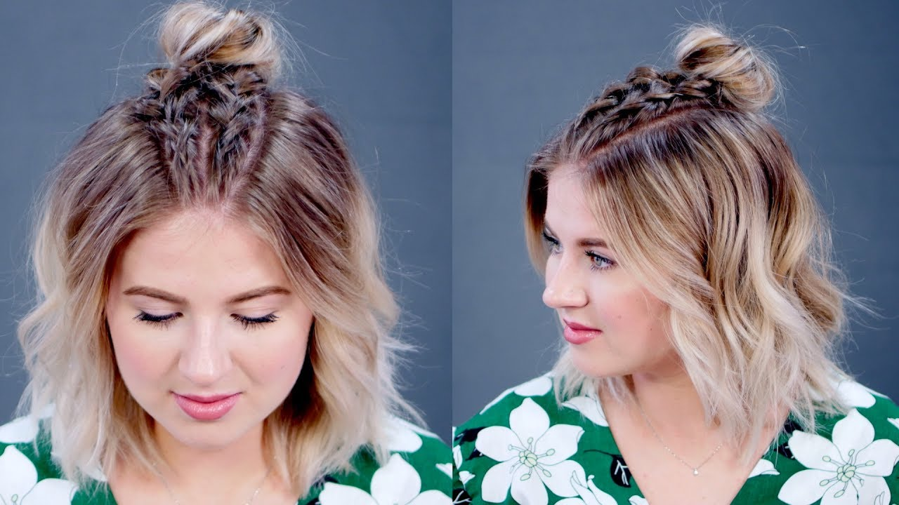 Hairstyle Of The Day Easy Double Dutch Braids With Messy Bun