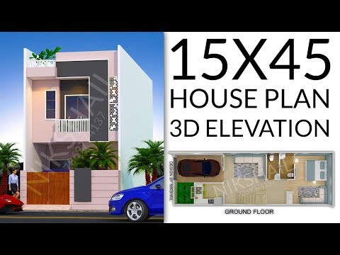 15X45 House plan with car parking 3d elevation by nikshail - YouTube