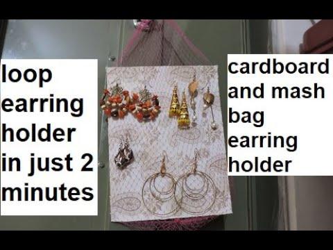 DIY earring holder #2 | cardboard and mash bag earring holder |अब 2 मिंट में मैगी नै क्राफ्ट बनाओ