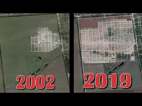 Мариуполь Как росло Кладбище 2002 - 2019 годы . Самое большое Кладбище в Мире . Съёмка со Спутника