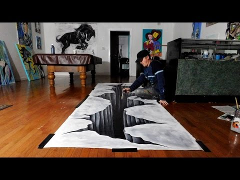 Trick Art on Canvas - Painting a Huge 3D Hole