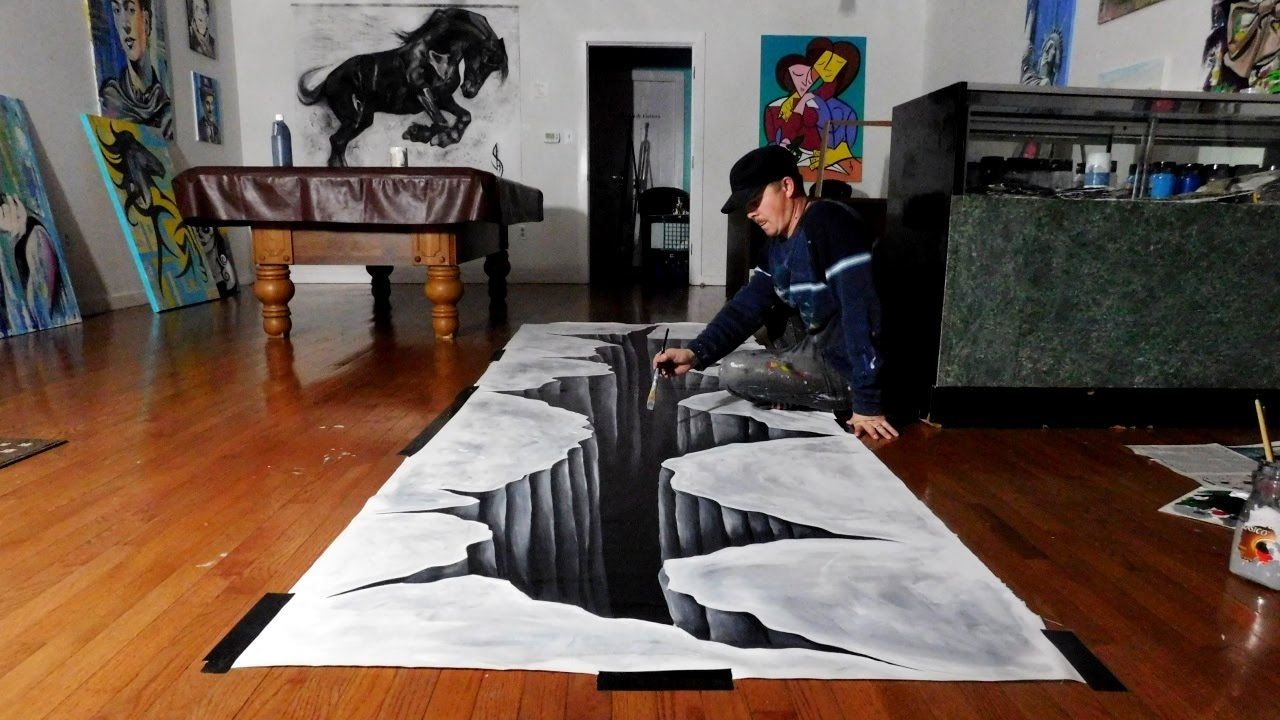 Trick Art on Canvas - Painting a Huge 3D Hole - YouTube