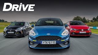 Ford Fiesta ST vs Rivals - Track test by DRIVE Magazine [English subs]