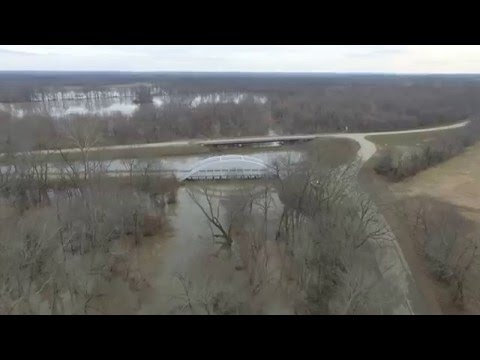 Flooding at Historic Rainbow Bridge on Route 66