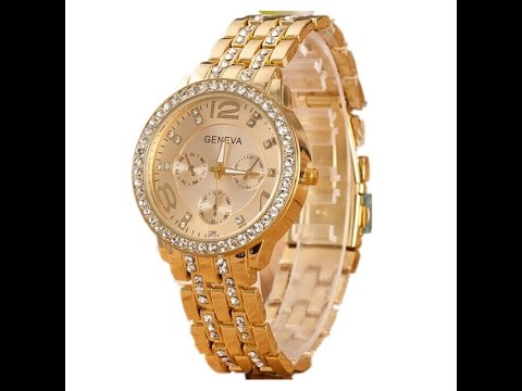 Посылка Из Китая(золотые женские часы GENEVA ) - YouTube