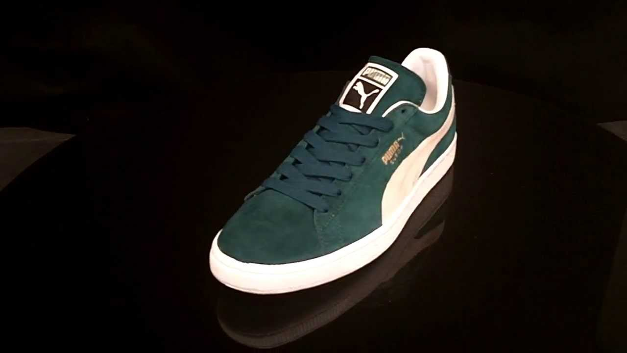 122a2b707f3 Puma Suede Classic Deep Teal Green White 352634 - YouTube