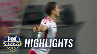 Marcel Sabitzer gives RB Leipzig 1-0 lead | 2017-18 Bundesliga Highlights