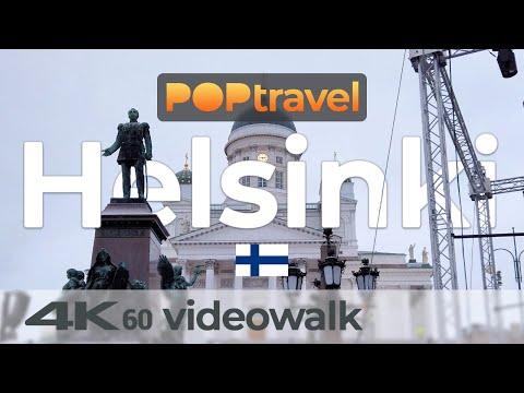 Walking In HELSINKI / Finland - Downtown In Winter - 4K 60fps (UHD)