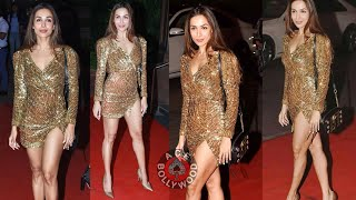 Hot Malaika Arora In Golden Shiny Dress With Sussan Khan Halloween Party