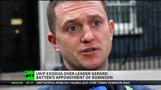 UKIP exodus over leader Gerard Batten's appointment of Tommy Robinson