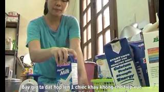 Growing bean sprouts using used paper milk or juice containers