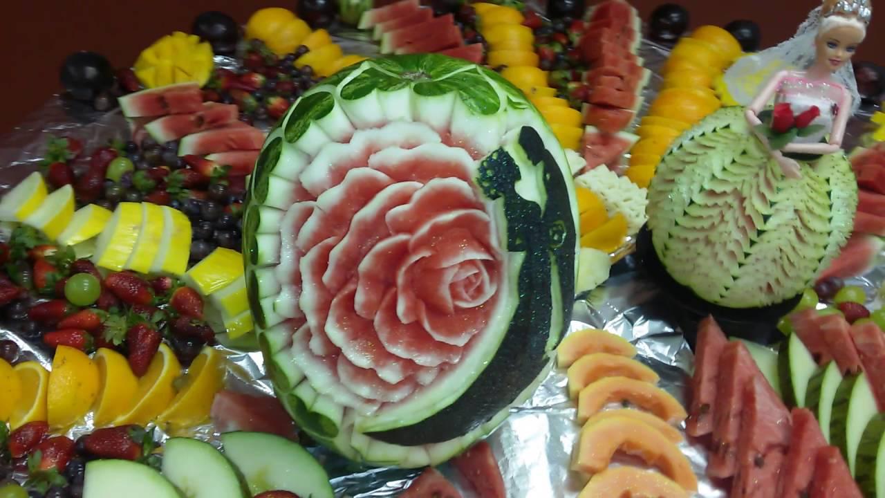 Mesa de fruta para casamento YouTube -> Decoração De Frutas Para Mesa
